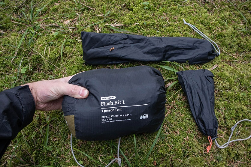 REI flash air 1 tent compressed