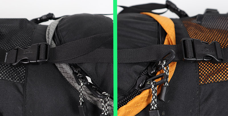Comparing the buckles, straps, zippers, fabric, and buckles on the Teton Sports Backpacks