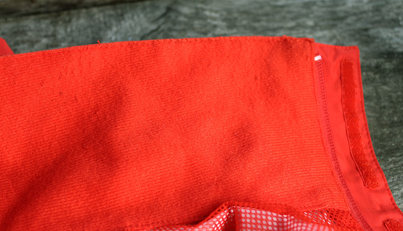 Fleece polyester material on the collar of the North Face Resolve 2
