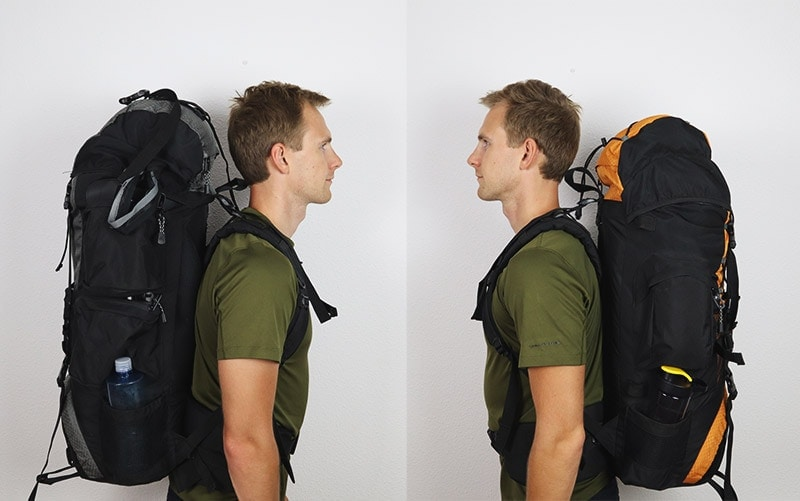 A man wearing the Teton Sports Explorer 4000 and Scout 3400 internal frame backpacks side view