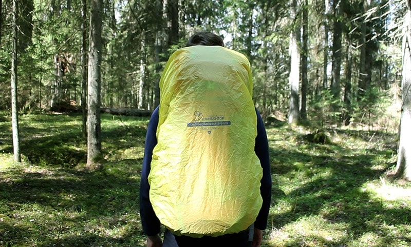 The built-in rain cover of the Mountaintop backpack