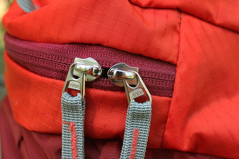 YKK zippers on the Mountaintop backpack