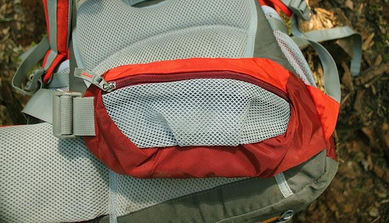 Hip belt pockets on the Mountaintop backpack