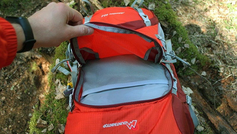 Large exterior compartment on the Mountaintop backpack