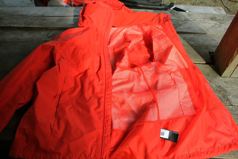 the North Face Resolve 2 rain jacket on a table