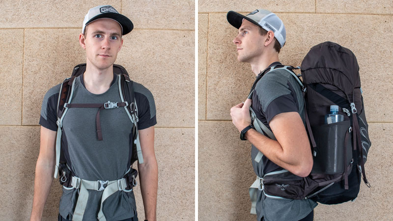 Man wearing Osprey Talon 44 from front and side