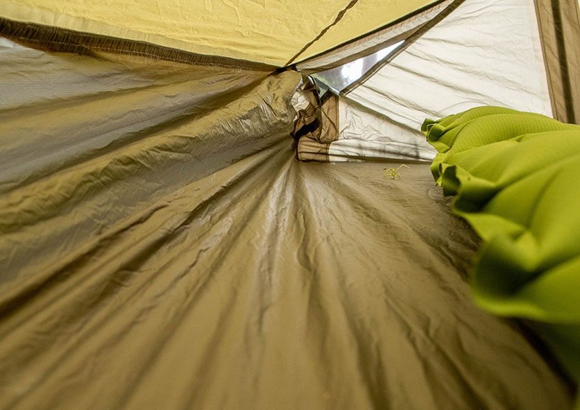 Showcasing the REI flash Air 1 ripstop nylon interior with taped seams