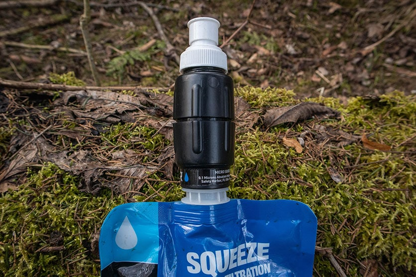 Sawyer micro squeeze screwed on the Sawyer water pouch