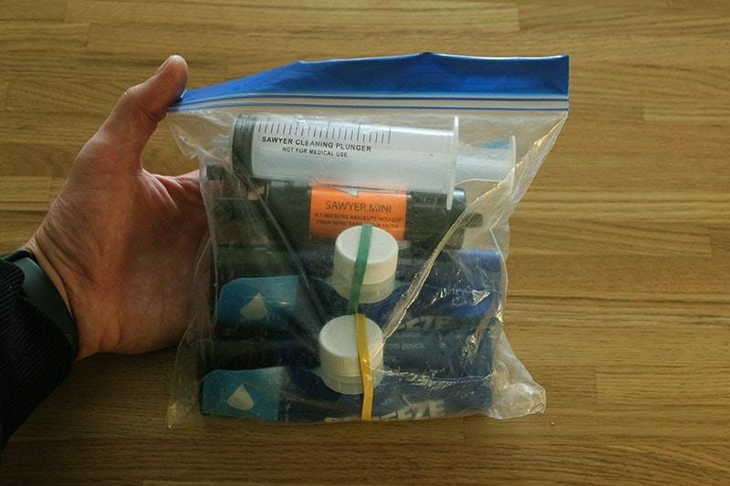 Sawyer Mini kit in a Ziploc bag
