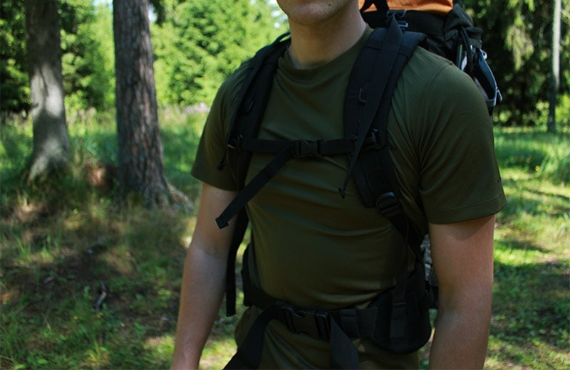 A man wearing the Teton Scout 3400 backpack