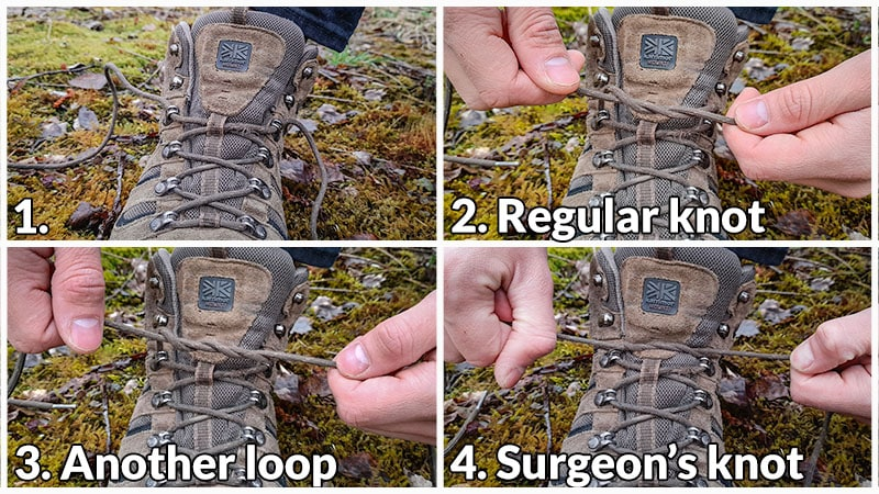 How to tie a surgeon's knot when lacing hiking boots