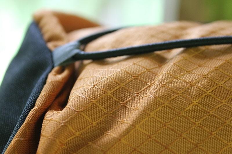 Teton Scout 3400 in orange polyester fabric close-up