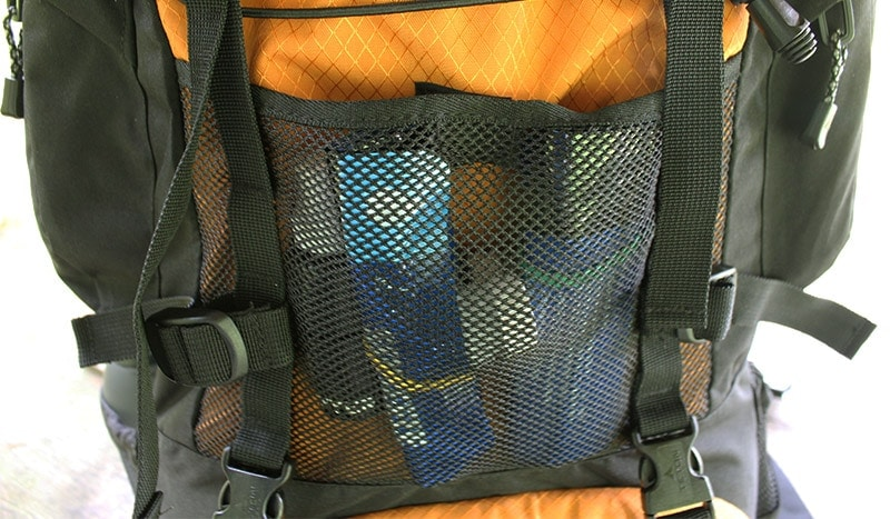 a zippered mesh pocket on the exterior of the Teton Scout 3400 backpack
