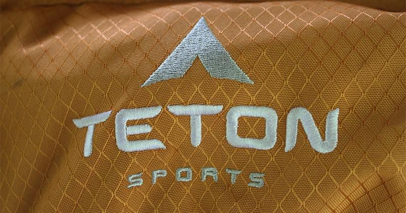 Teton sports logo sewn on the exterior of the Scout 3400