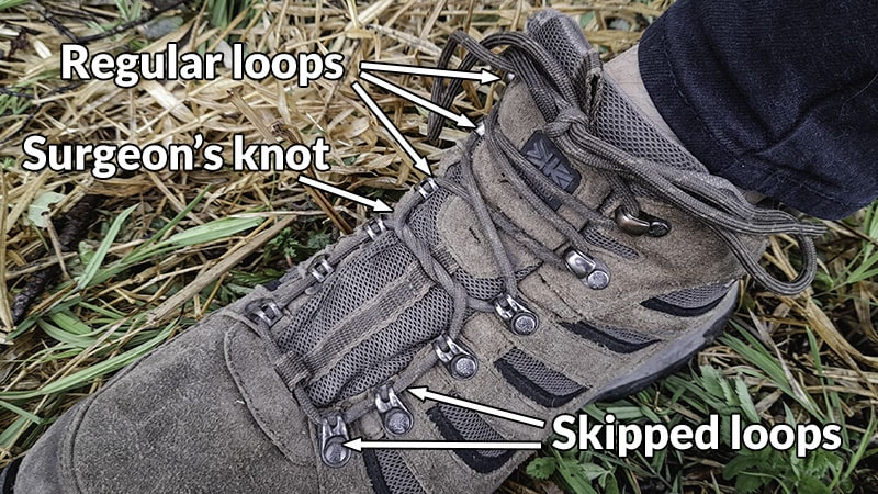 Hiking boot lacing technique for fixing too tight toebox